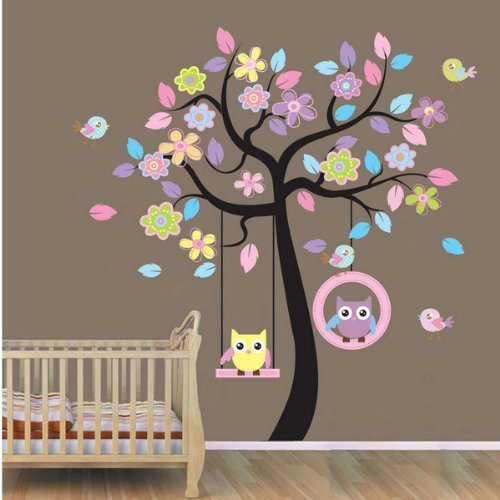 Colorful Owl Swing Tree Birds Flowers Nursery Wall Decor Decals Baby Boy  Girl Room Wall Sticker